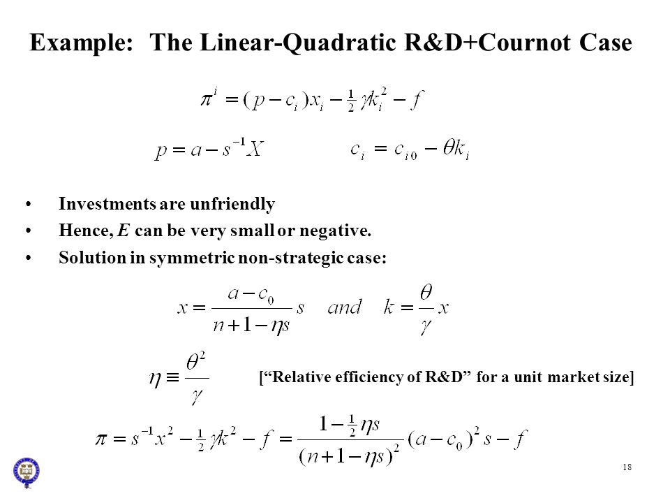 Example: The Linear-Quadratic R&D+Cournot Case