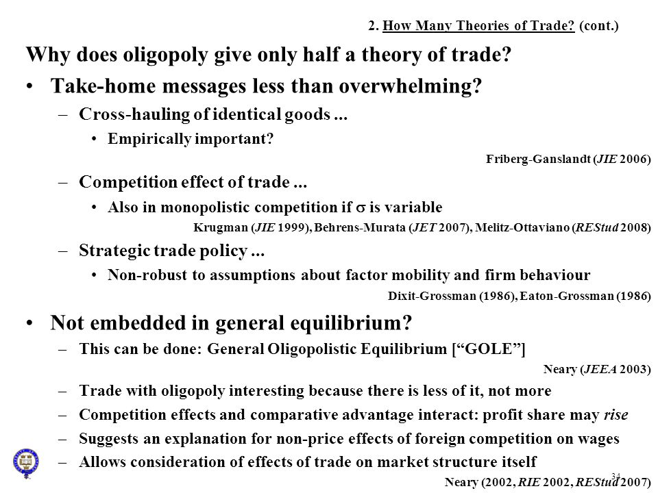 2. How Many Theories of Trade (cont.)