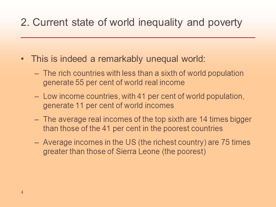 2. Current state of world inequality and poverty