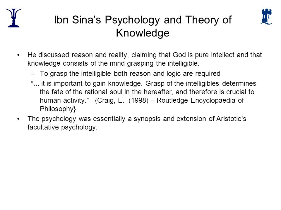 Ibn Sina's Psychology and Theory of Knowledge
