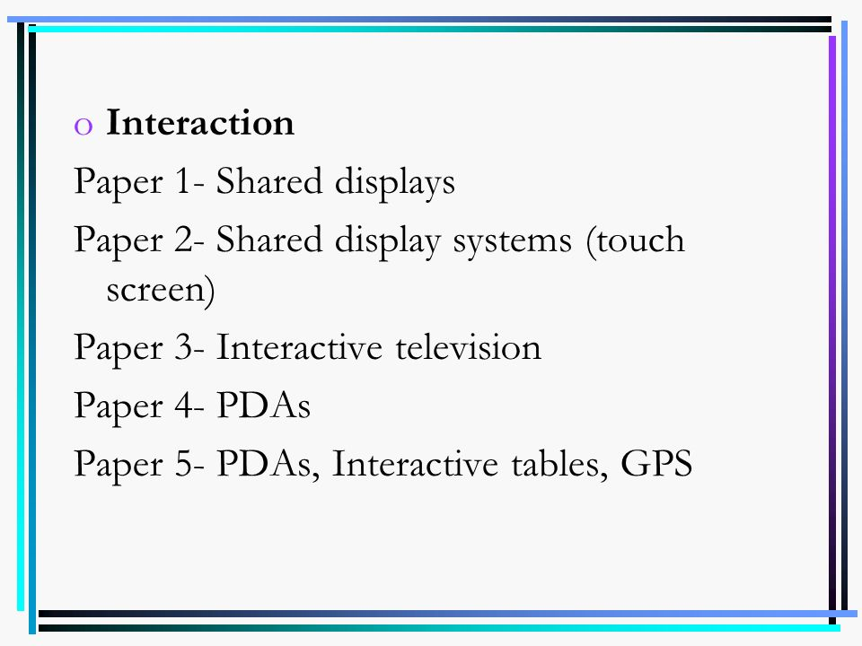 Interaction Paper 1- Shared displays. Paper 2- Shared display systems (touch screen) Paper 3- Interactive television.