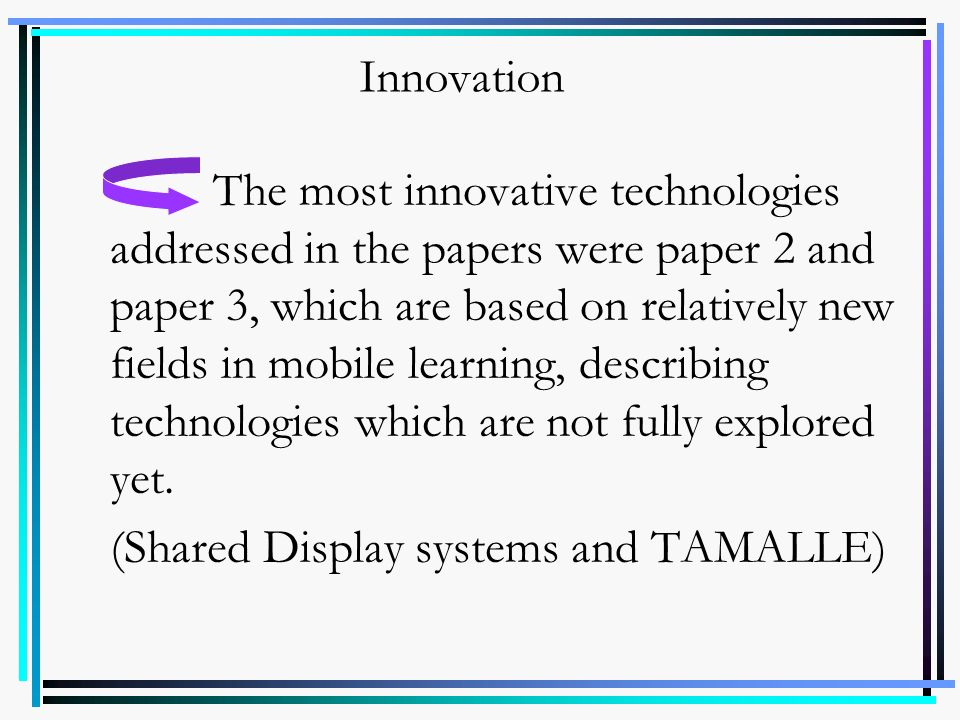 (Shared Display systems and TAMALLE)