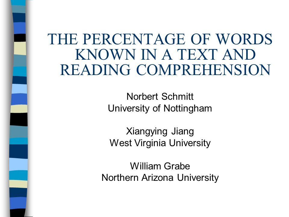 THE PERCENTAGE OF WORDS KNOWN IN A TEXT AND READING COMPREHENSION
