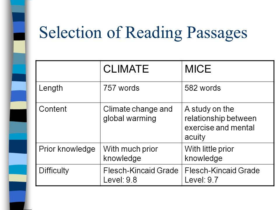 Selection of Reading Passages