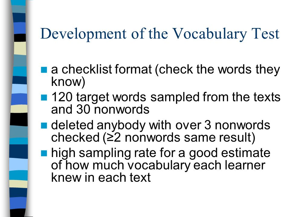 Development of the Vocabulary Test