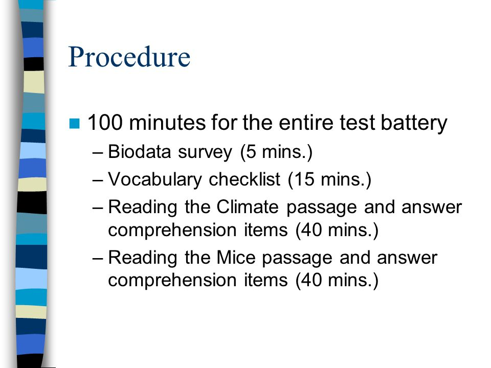 Procedure 100 minutes for the entire test battery