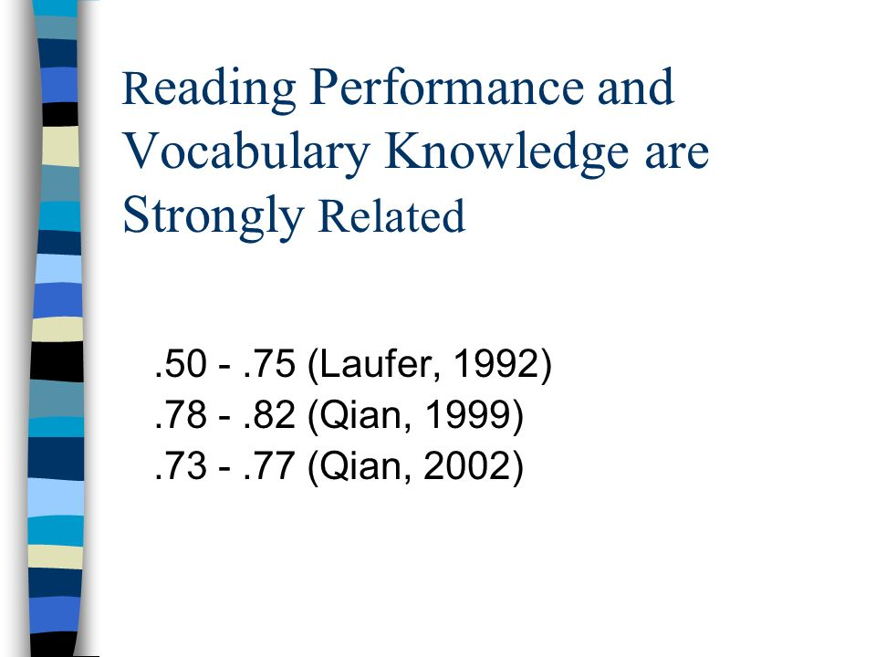 Reading Performance and Vocabulary Knowledge are Strongly Related
