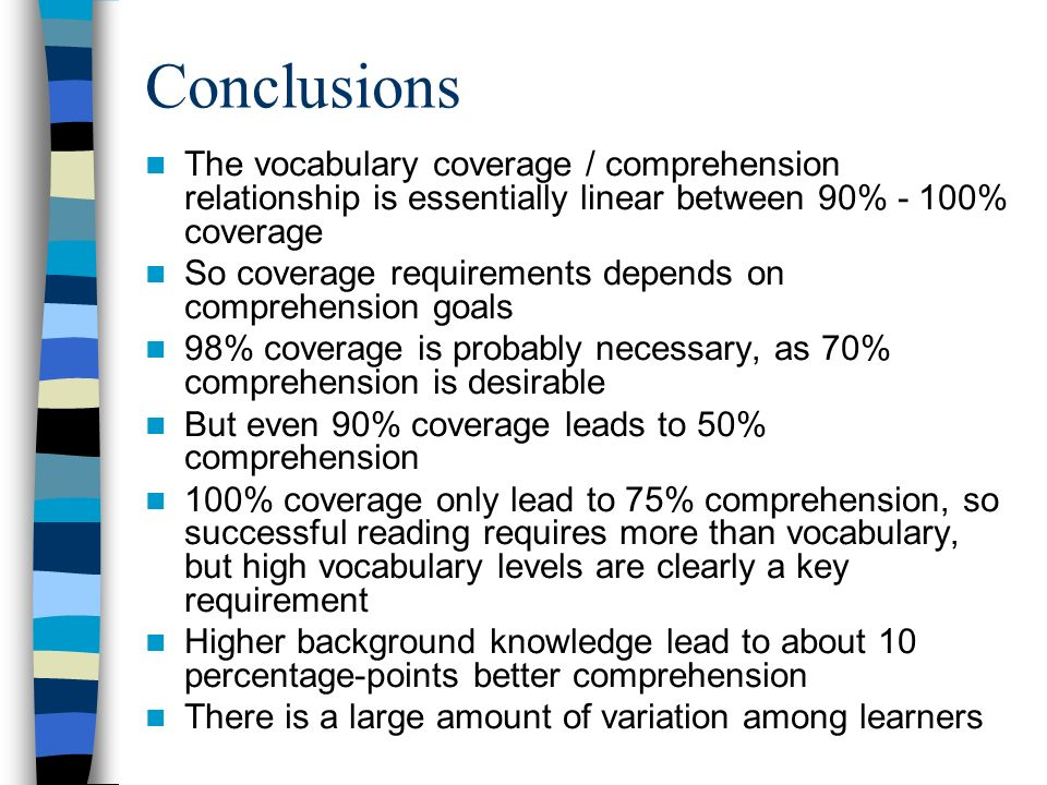 Conclusions The vocabulary coverage / comprehension relationship is essentially linear between 90% - 100% coverage.