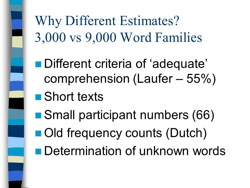 Why Different Estimates 3,000 vs 9,000 Word Families
