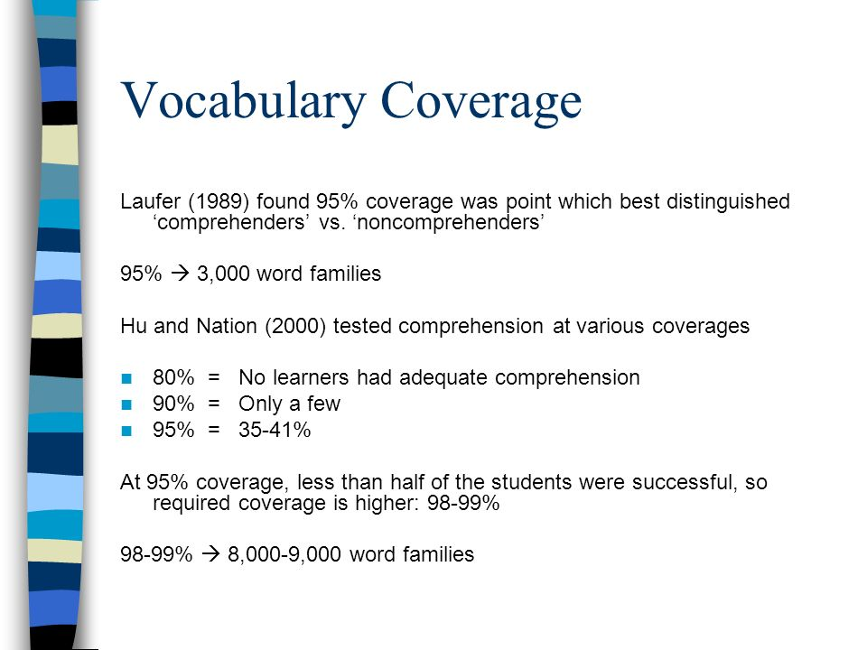 Vocabulary Coverage Laufer (1989) found 95% coverage was point which best distinguished 'comprehenders' vs. 'noncomprehenders'