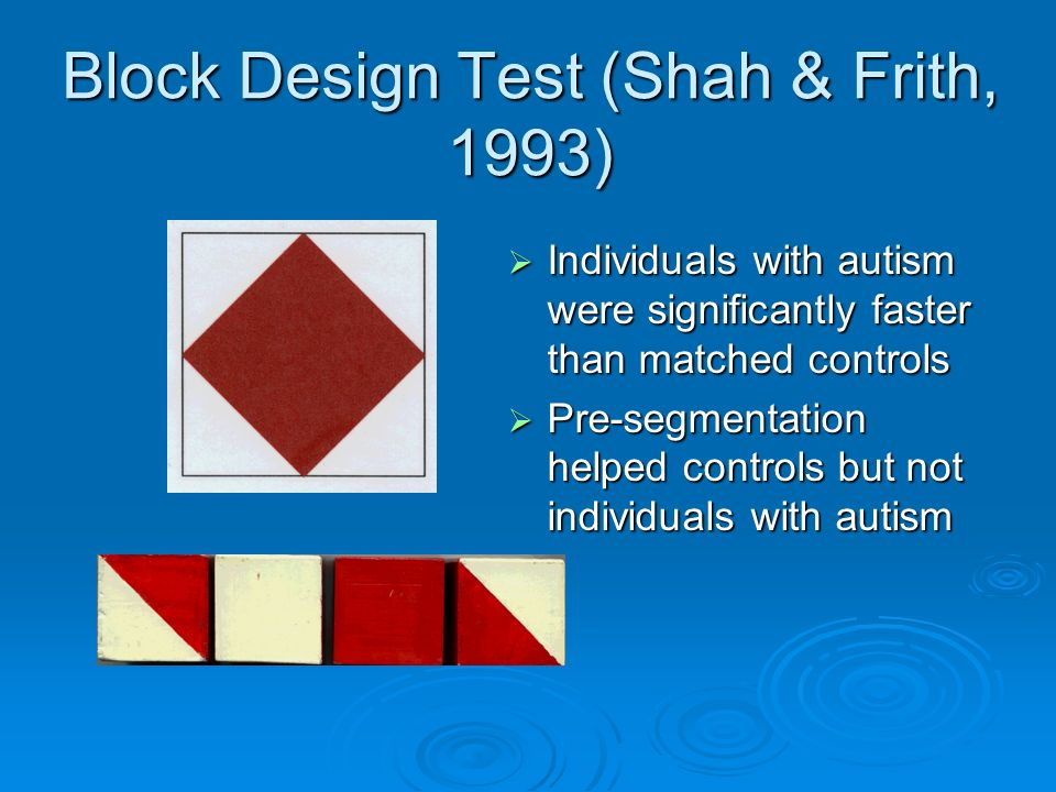 Block Design Test (Shah & Frith, 1993)