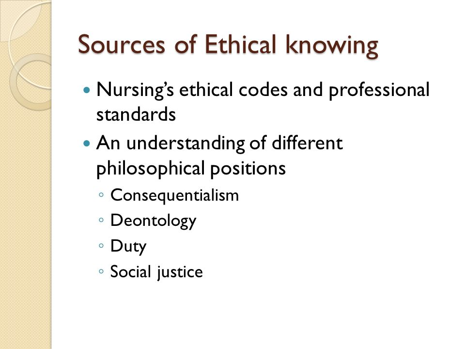 Sources of Ethical knowing