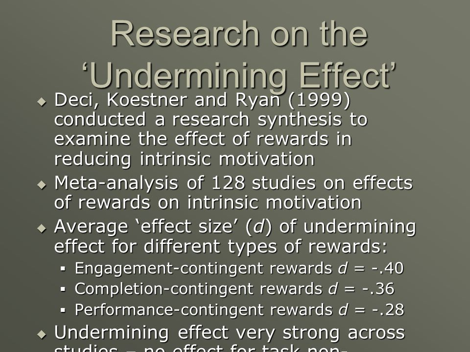 Research on the 'Undermining Effect'