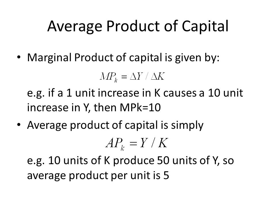 Average Product of Capital