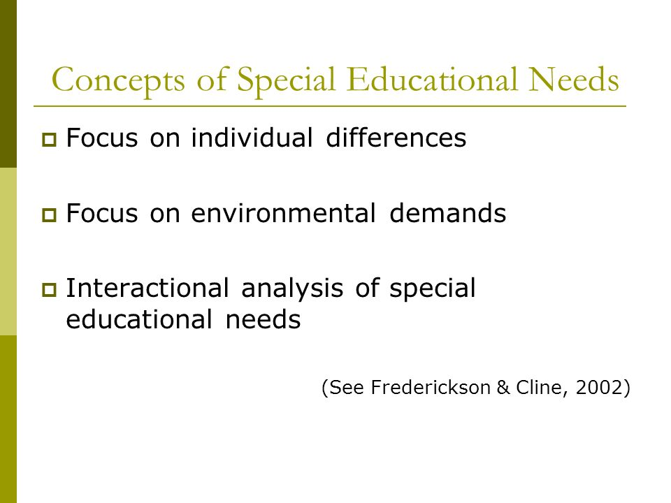 Concepts of Special Educational Needs