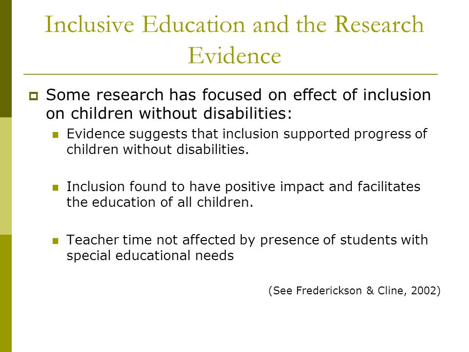Inclusive Education and the Research Evidence