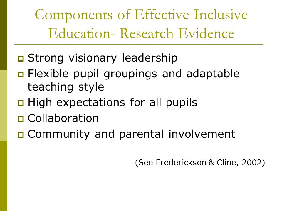 Components of Effective Inclusive Education- Research Evidence