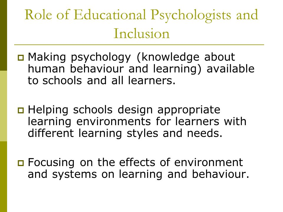 Role of Educational Psychologists and Inclusion