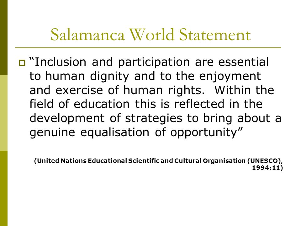 Salamanca World Statement