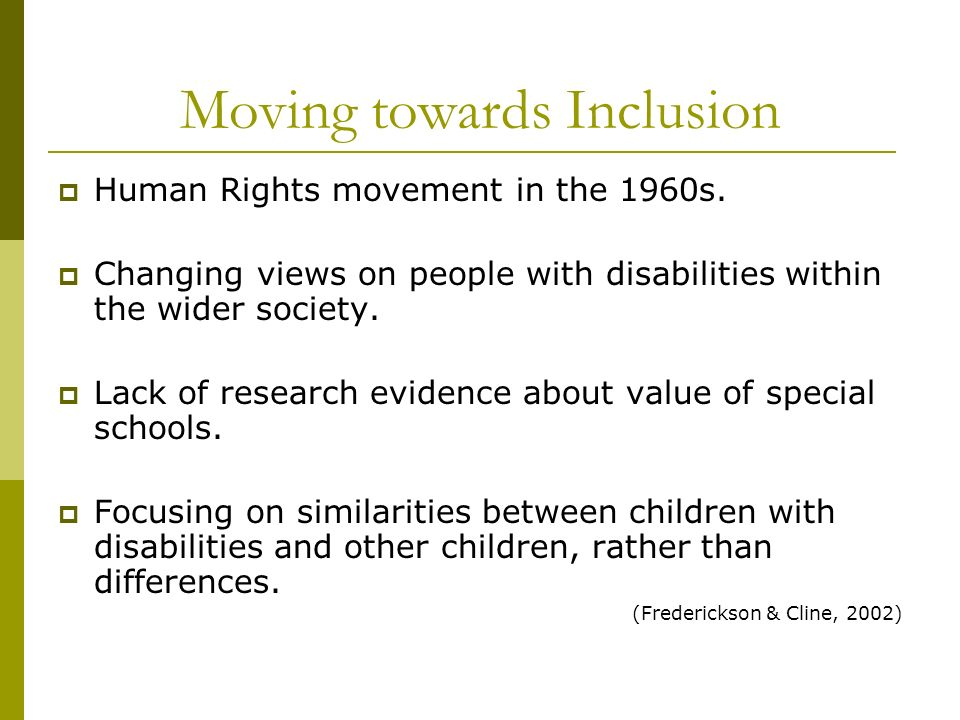 Moving towards Inclusion