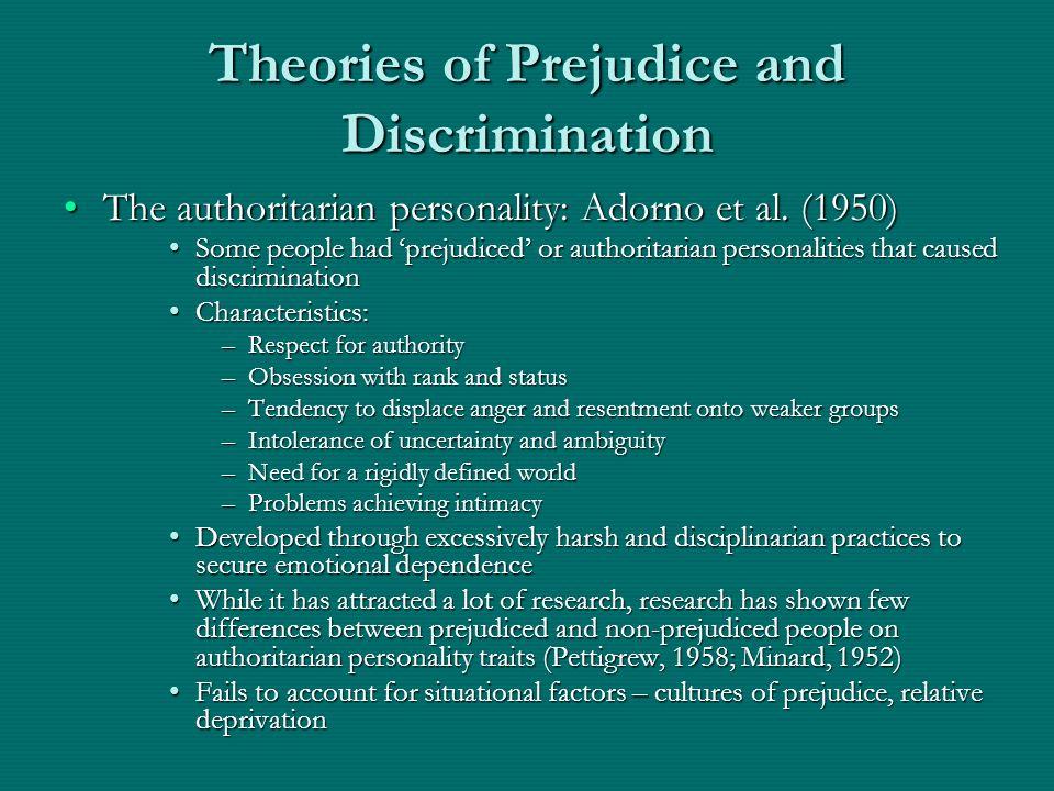 Theories of Prejudice and Discrimination