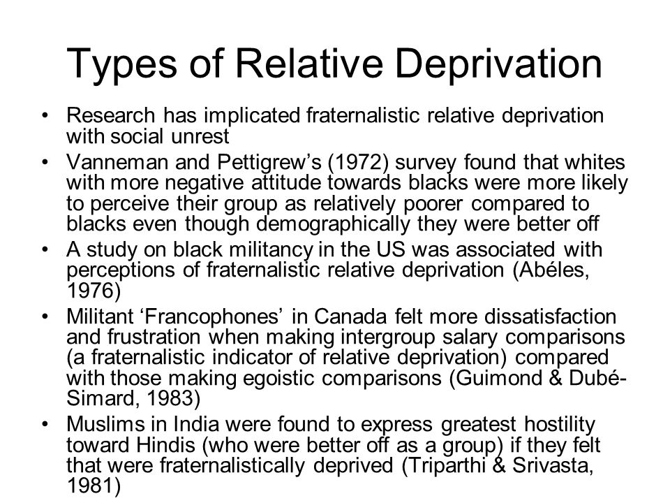 Types of Relative Deprivation