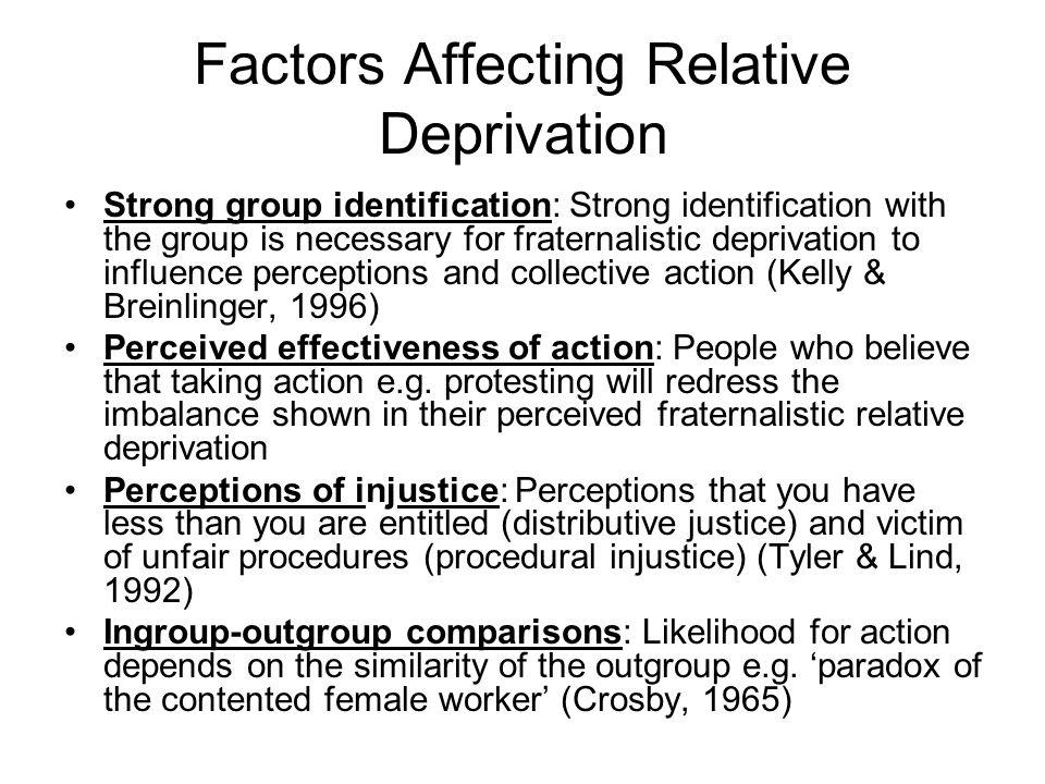 Factors Affecting Relative Deprivation