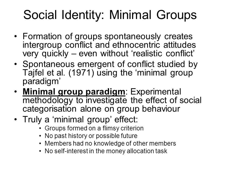Social Identity: Minimal Groups