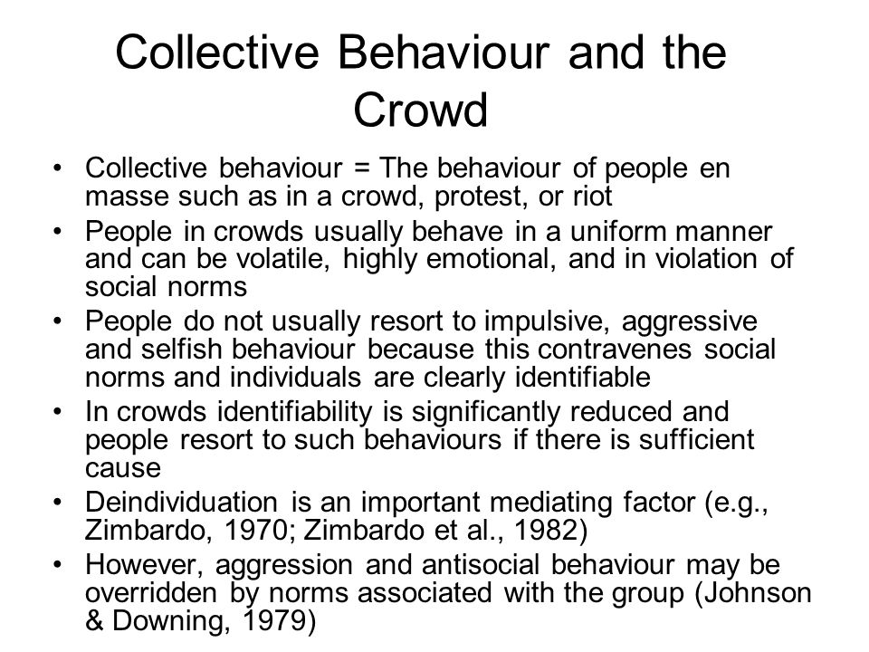 Collective Behaviour and the Crowd