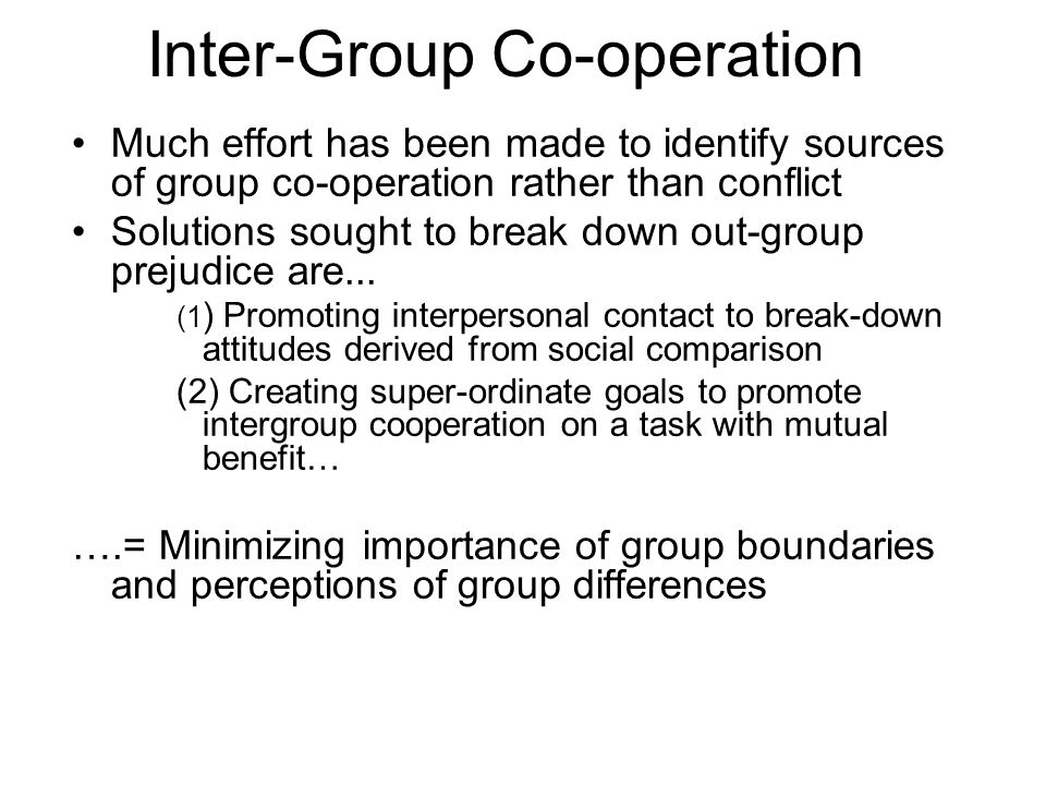 Inter-Group Co-operation