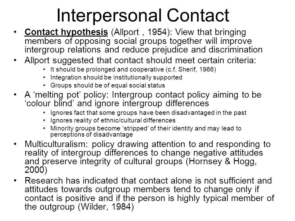 Interpersonal Contact