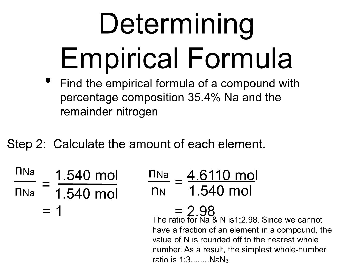 8 Determining Empirical Formula Find The Empirical Formula Of Apound With  Percentageposition