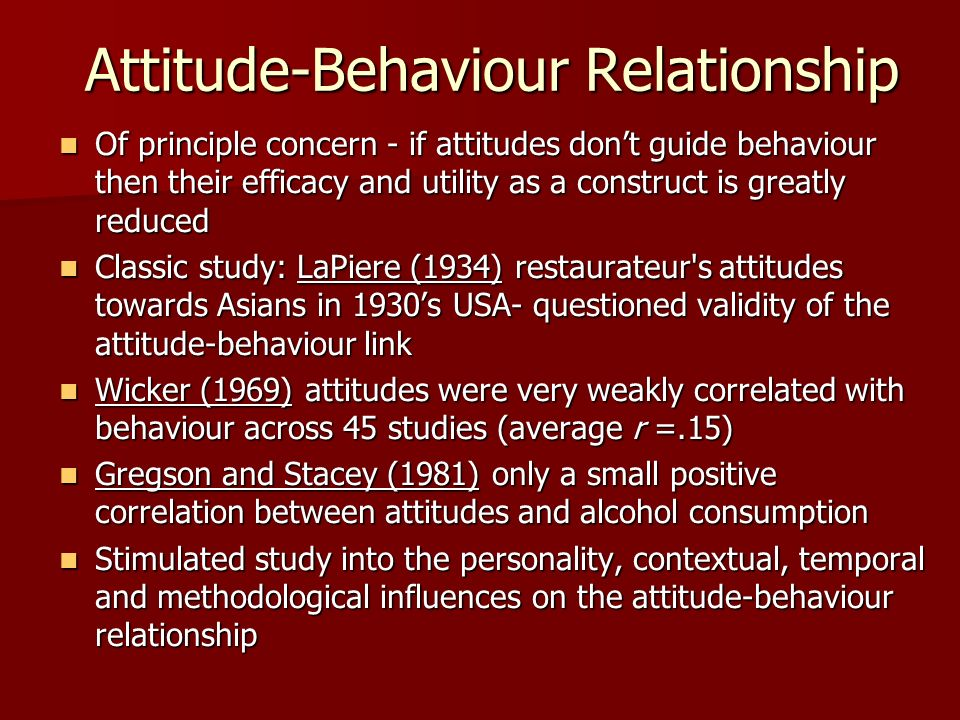 Attitude-Behaviour Relationship