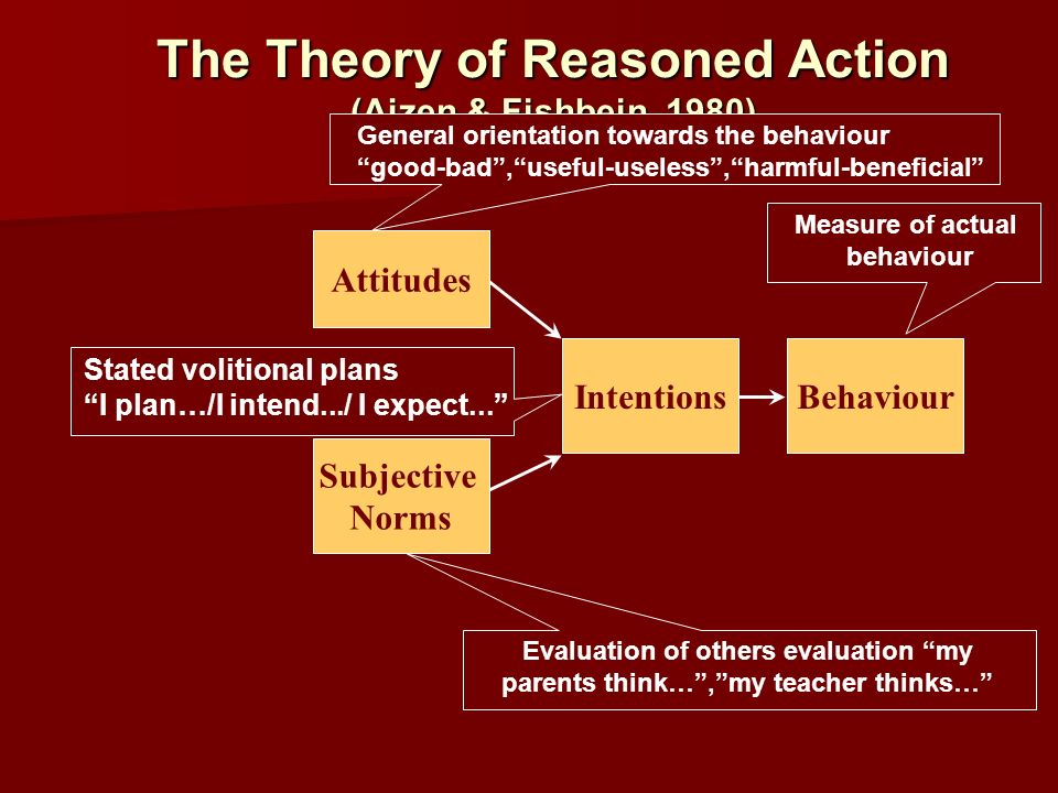 The Theory of Reasoned Action (Ajzen & Fishbein, 1980)