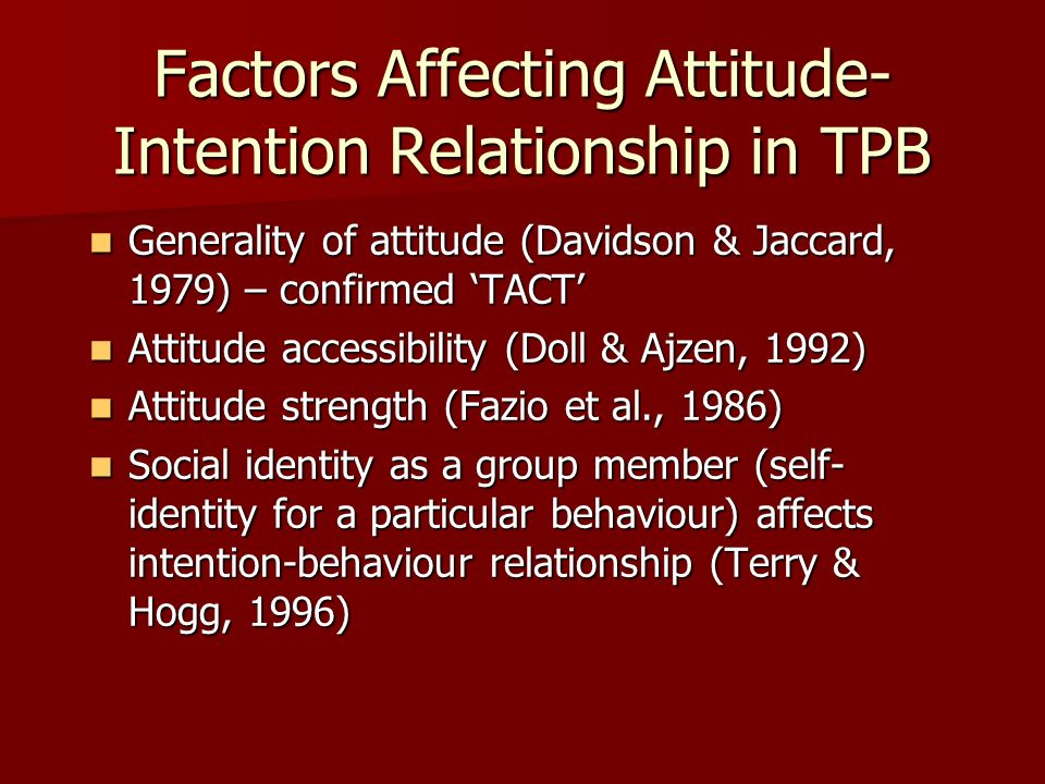 Factors Affecting Attitude-Intention Relationship in TPB