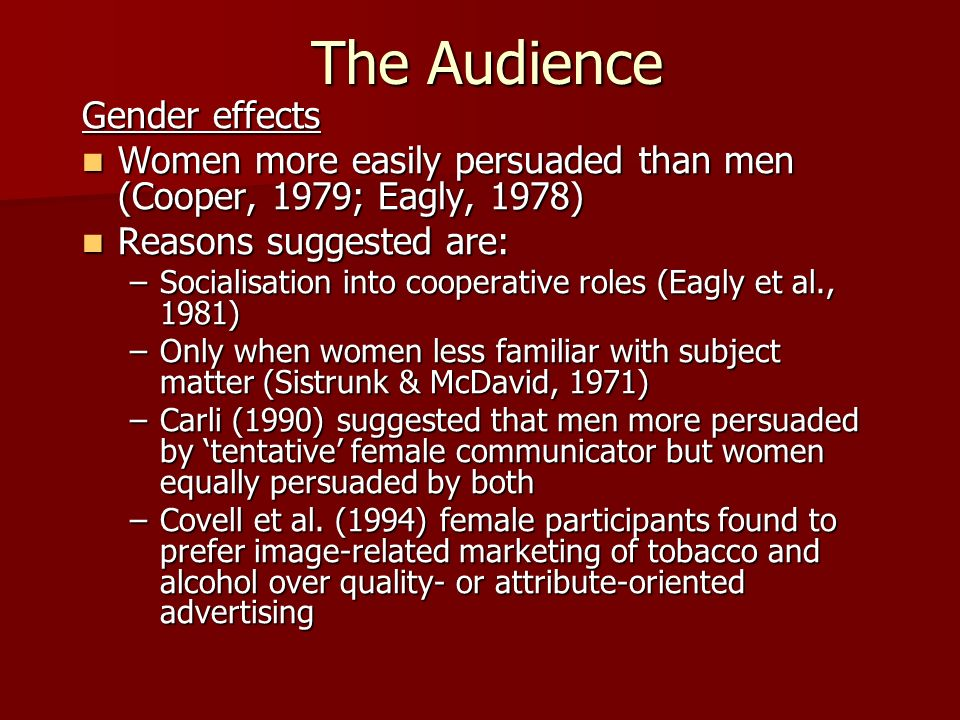The Audience Gender effects