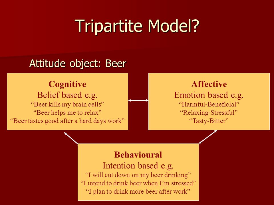 Tripartite Model Attitude object: Beer Cognitive Belief based e.g.