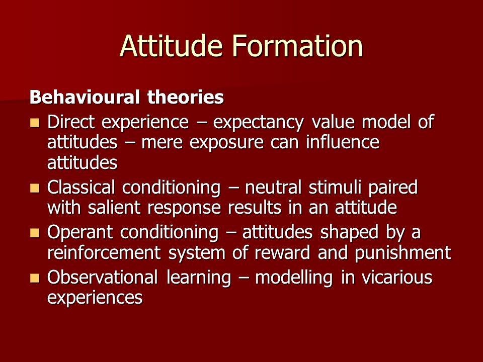 Attitude Formation Behavioural theories