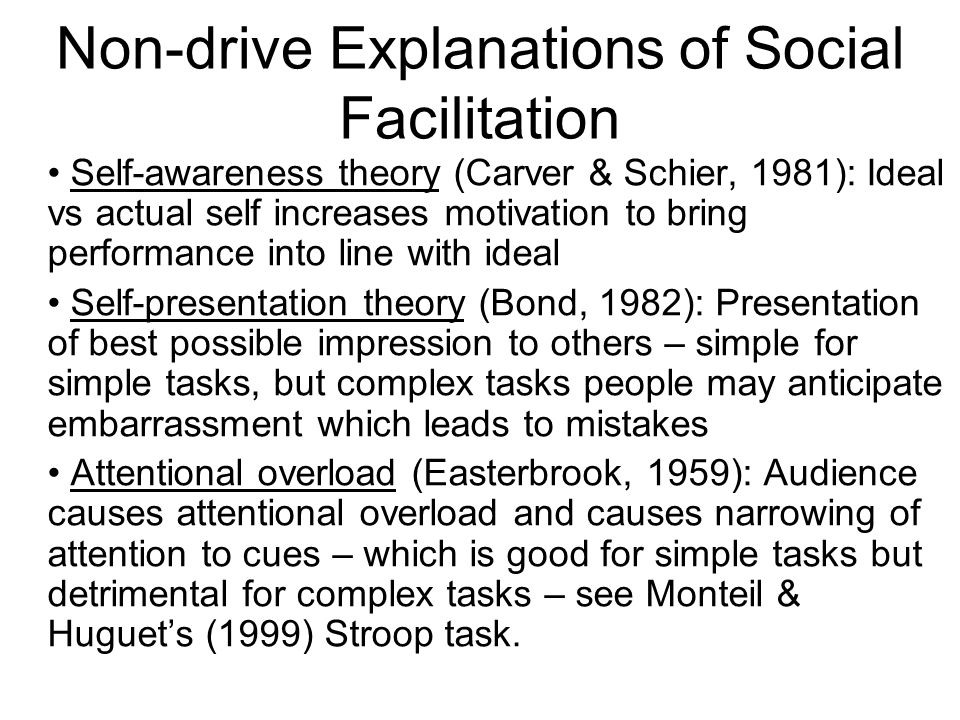 Non-drive Explanations of Social Facilitation