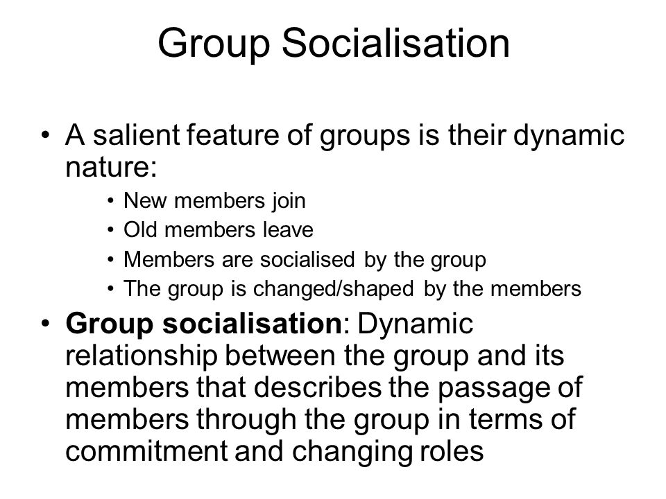 Group Socialisation A salient feature of groups is their dynamic nature: New members join. Old members leave.