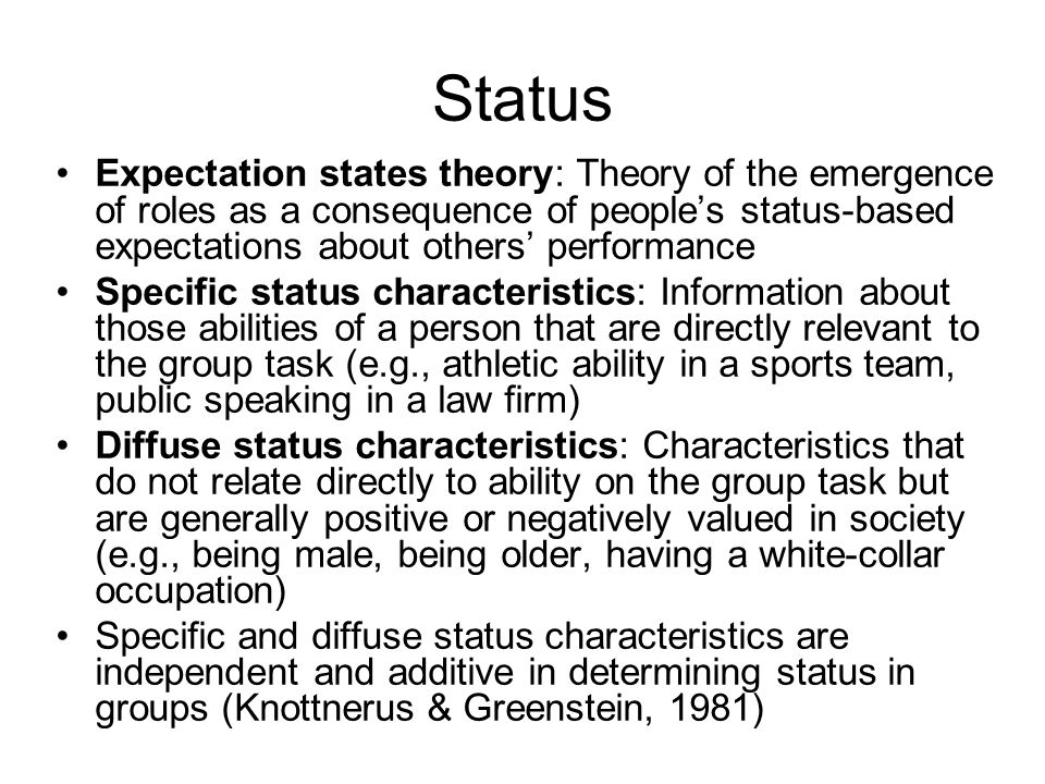 Status Expectation states theory: Theory of the emergence of roles as a consequence of people's status-based expectations about others' performance.