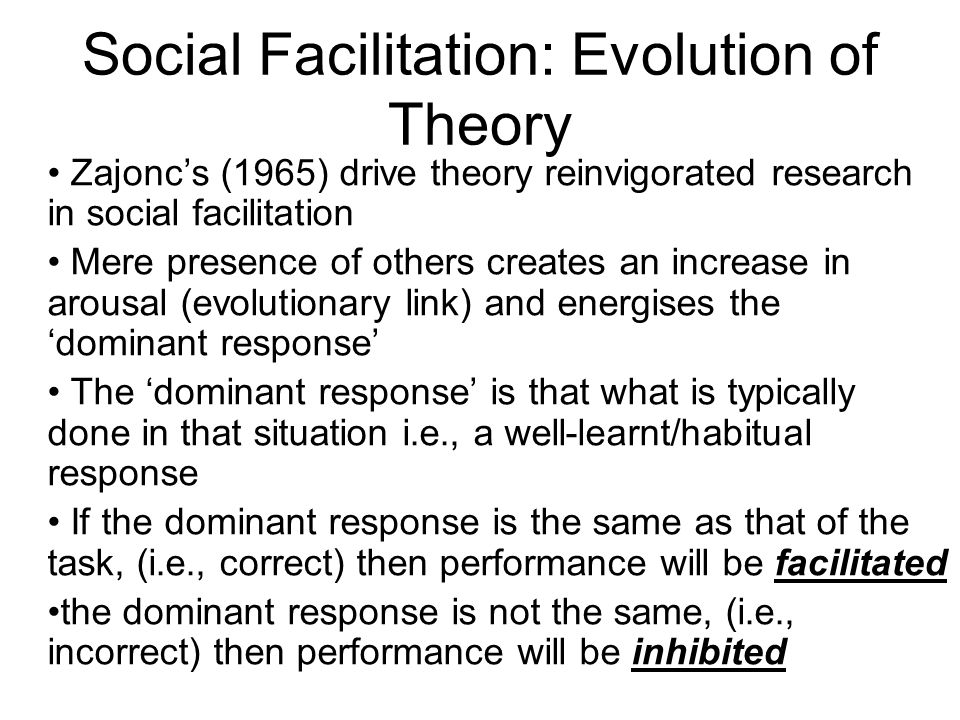 Social Facilitation: Evolution of Theory