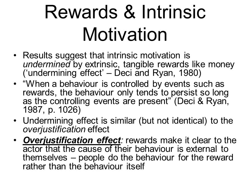Rewards & Intrinsic Motivation