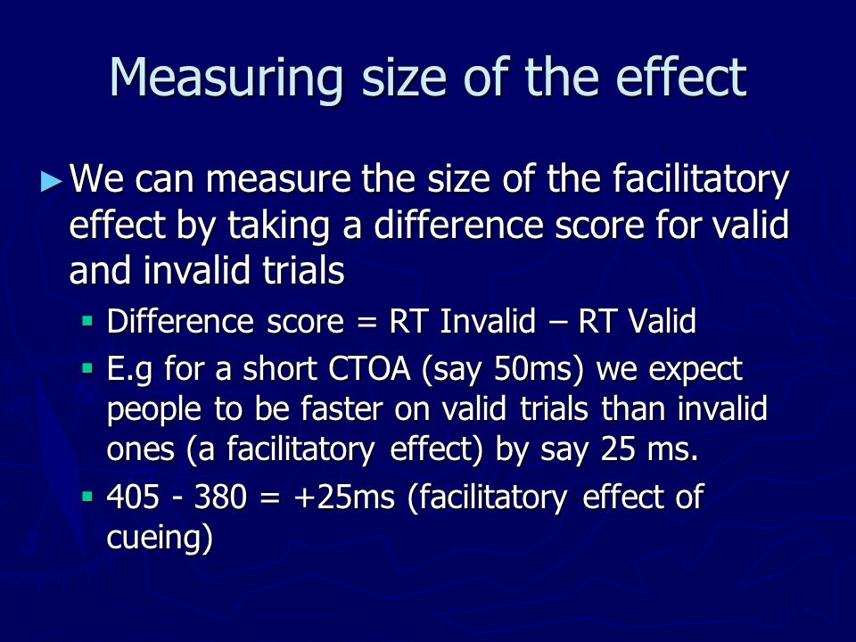 Measuring size of the effect