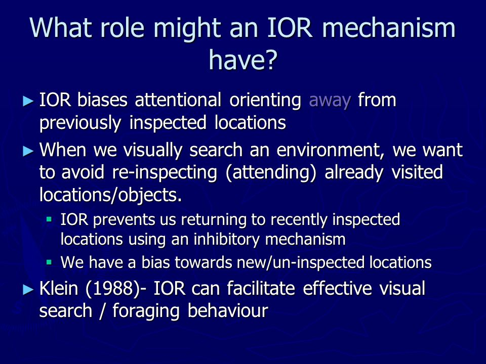 What role might an IOR mechanism have