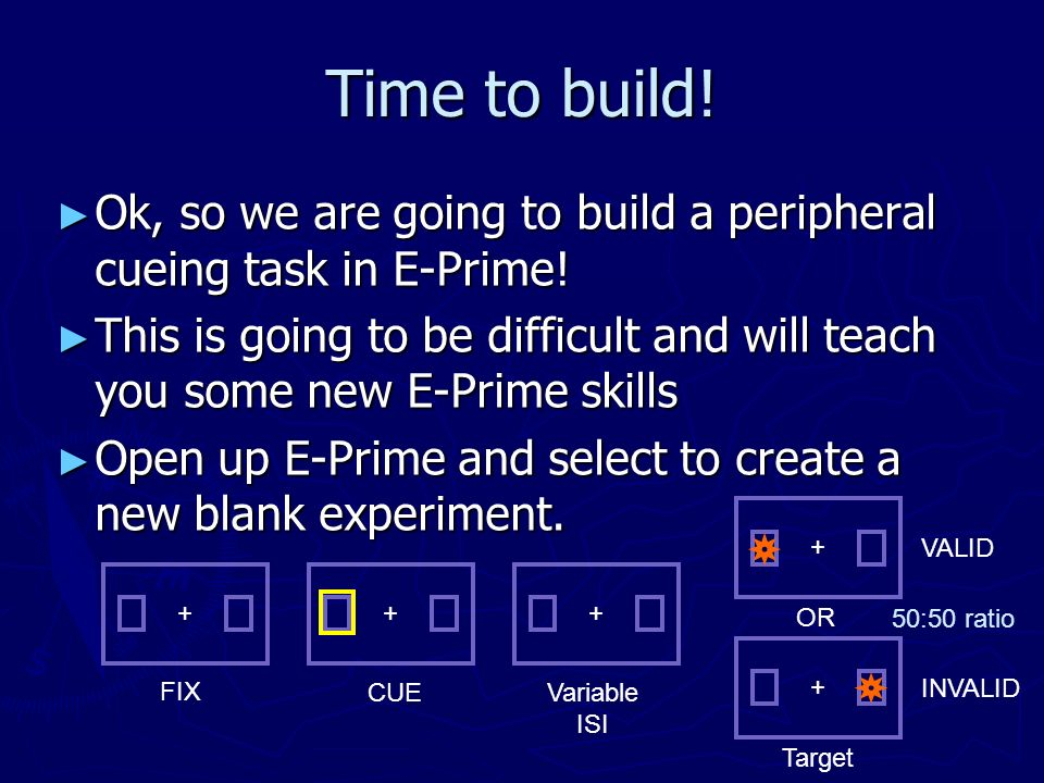 Time to build! Ok, so we are going to build a peripheral cueing task in E-Prime!