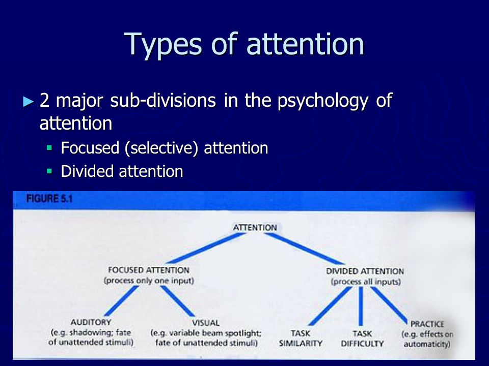 Types of attention 2 major sub-divisions in the psychology of attention. Focused (selective) attention.