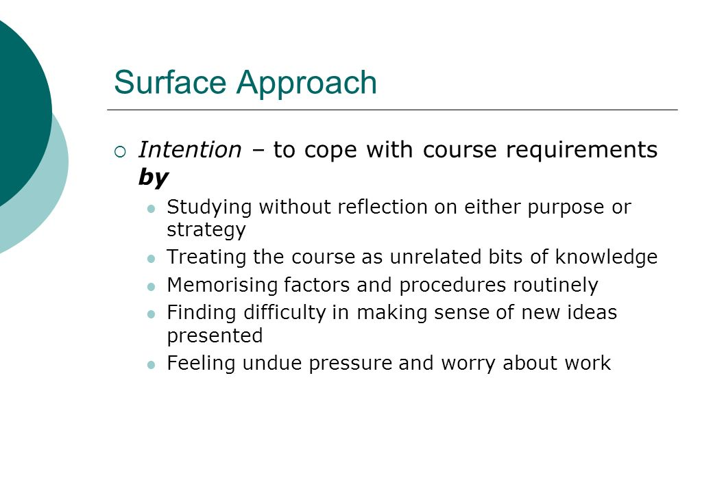 Surface Approach Intention – to cope with course requirements by