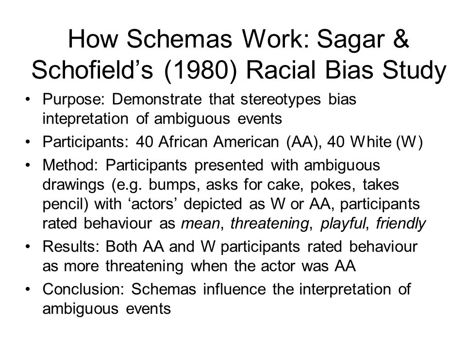 How Schemas Work: Sagar & Schofield's (1980) Racial Bias Study