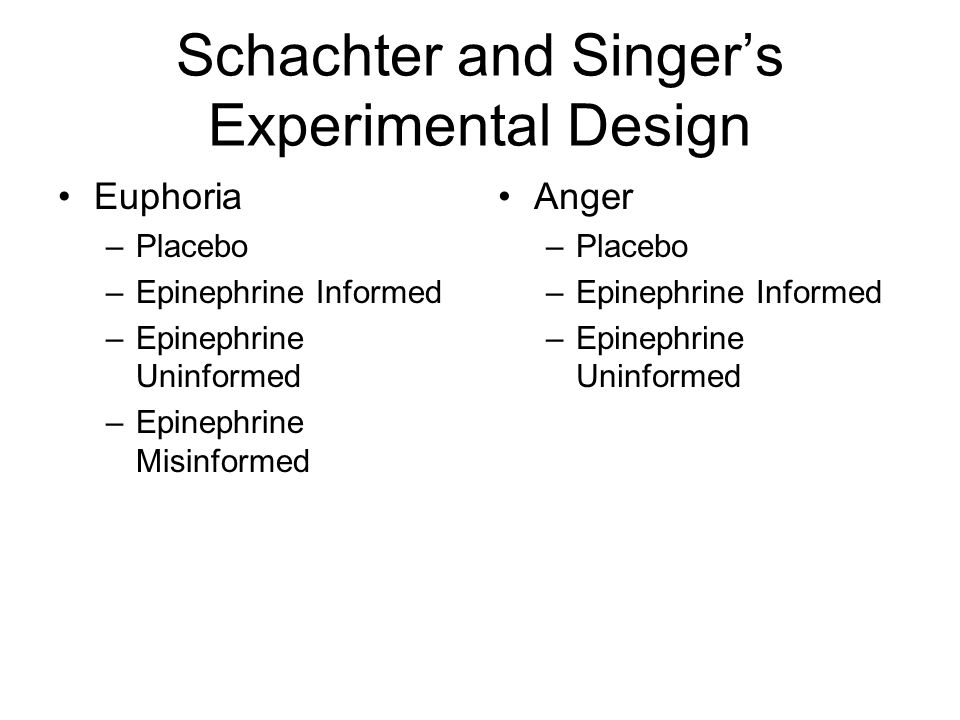Schachter and Singer's Experimental Design